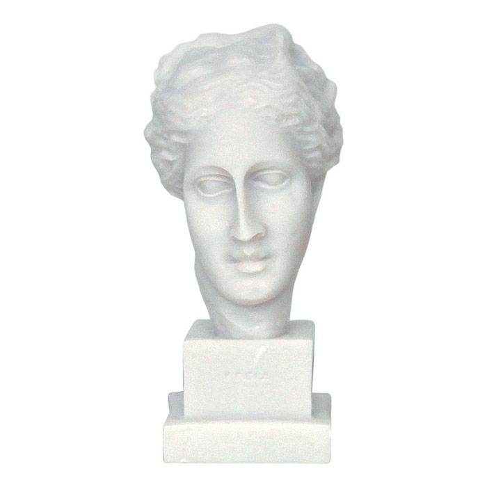 We created the Head of Hygieia, who was the ancient greek goddess of health and the daughter of Asclepius, inspired by the artwork of the ancient greek sculptor Skopas. 4th century, Tegea, Peloponnese. Dimensions: 7 cm x 14 cm x 9 cm Bust of casted alabaster.