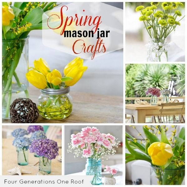 Spring Mason Jar Crafts with fresh flowers by Jessica Bruno @ www.fourgenerationsoneroof.com @4gens1roof