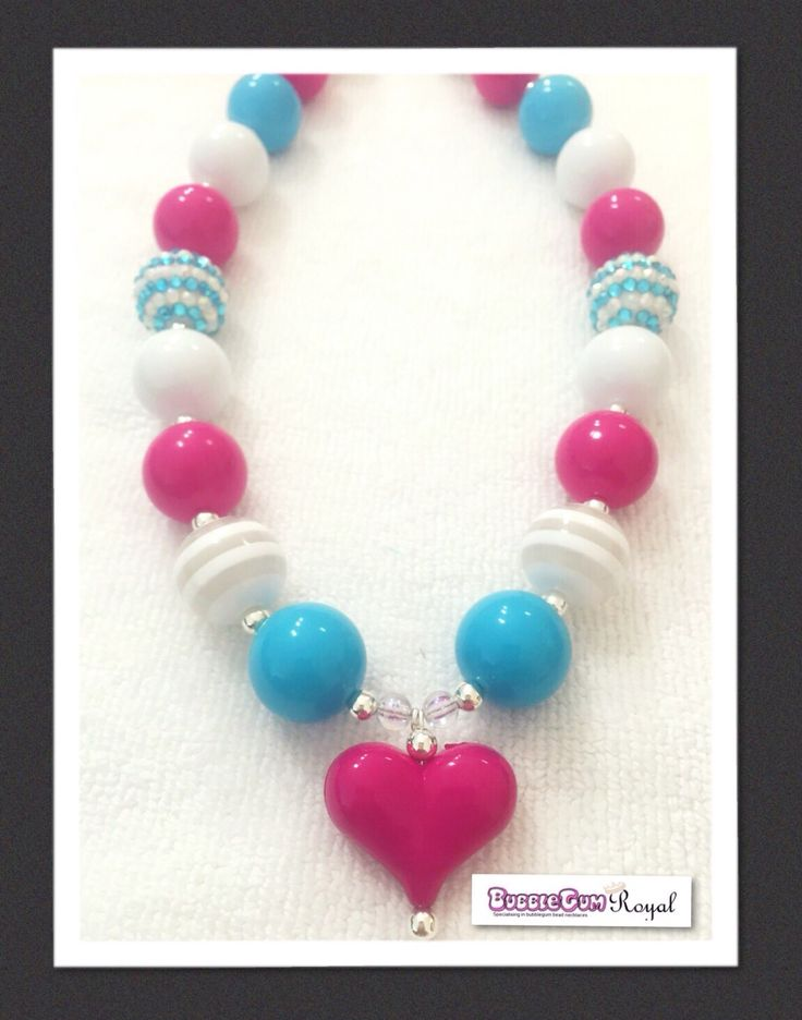 Sweet Heart Pink Bubblegum Bead Necklace with teal, pink and white beads and featuring a bright pink coloured heart pendant is just $16.50 including shipping (untracked) anywhere in Australia. More designs available at www.bubblegumroyal.com