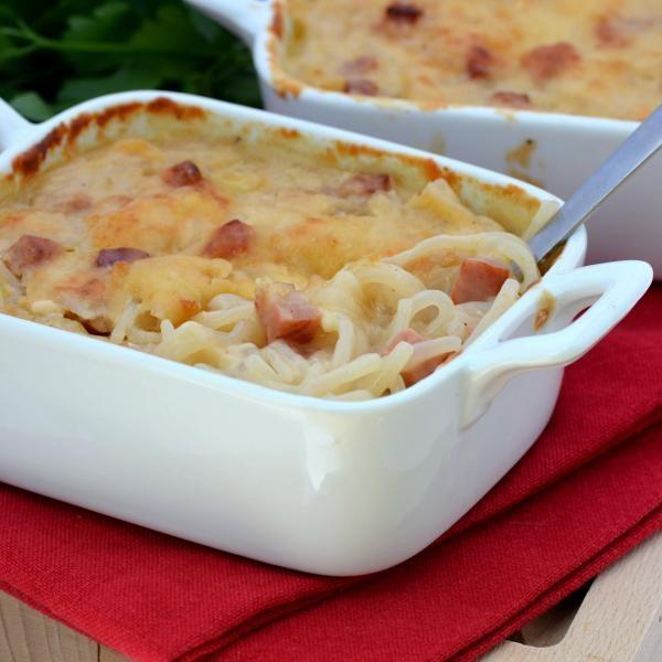 Gratin de spaghetti de Konjac aux dés de jambon | Konjac
