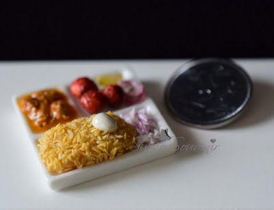 Indian food miniatures - Biryani & chicken 65