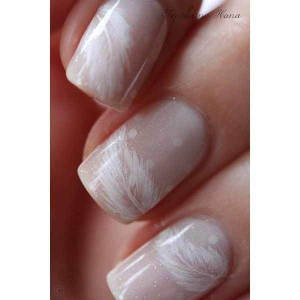 Pretty feather nails ❤ liked on Polyvore