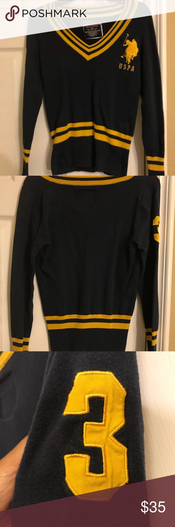 Navy Blue and Gold US POLO Association pullover Navy blue and gold US POLO Association pullover. Medium. Fitting and soft material. 80% cotton. 17% Nylon. 8% Spandex. U.S. Polo Assn. Tops Sweatshirts & Hoodies