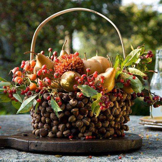 Acorn Basket: Fall Floral, Fall Centerpieces, Decor Ideas, Autumn Decor, Holidays, Fall Decorating, Acorn Baskets, Diy, Crafts