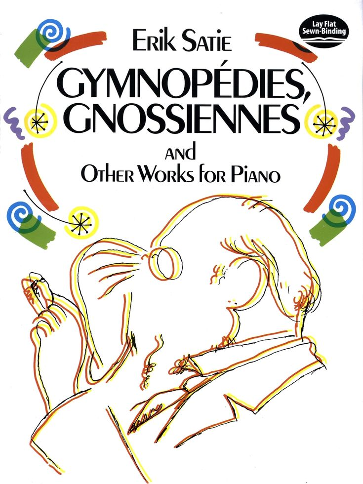 Gymnopédies, Gnossiennes and Other Works for Piano by Erik Satie  The affordable volume represents the largest collection of Satie piano works available. Includes 17 pieces in all by the French composer and pianist, including his most famous piece, Gymnopédies, as well as Sarabandes, Poudre d'or, En habit de cheval, and Morceaux en forme de poire. Painstakingly reprinted from the original French editions.
