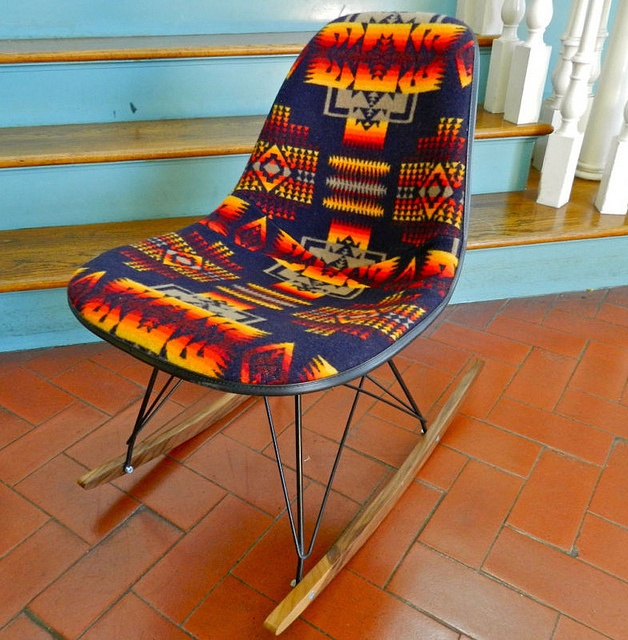 Native American Inspired Decor Eames Chair W/Pendleton Indian Blanket  Upholstery