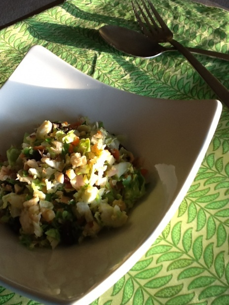 Raw Brussels Sprout Salad with Fennel, Cherries & Tempeh Bacon