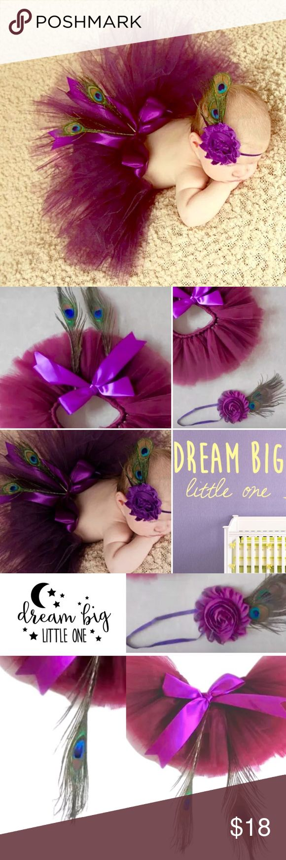 Baby tutu Peacock feather gift set plum purple NB Welcome to Dream BIG Boutique! This posting is for 1 Baby Peacock Too-Too Cute Gift Set This photo Prop outfit includes a Tutu, headband & 3 Peacock feathers! GREAT photo prop & A CUSTOMER FAVORITE! Boutique Quality ~ You will receive this gift set NEW & exactly as photographs show, gift packaged! Perfect GRAB N GO Baby Shower Gift for baby girl :) Main Color is Plum purple One Size ~ Crafted for Baby Girls Newborn-3 months Handmade Matching…