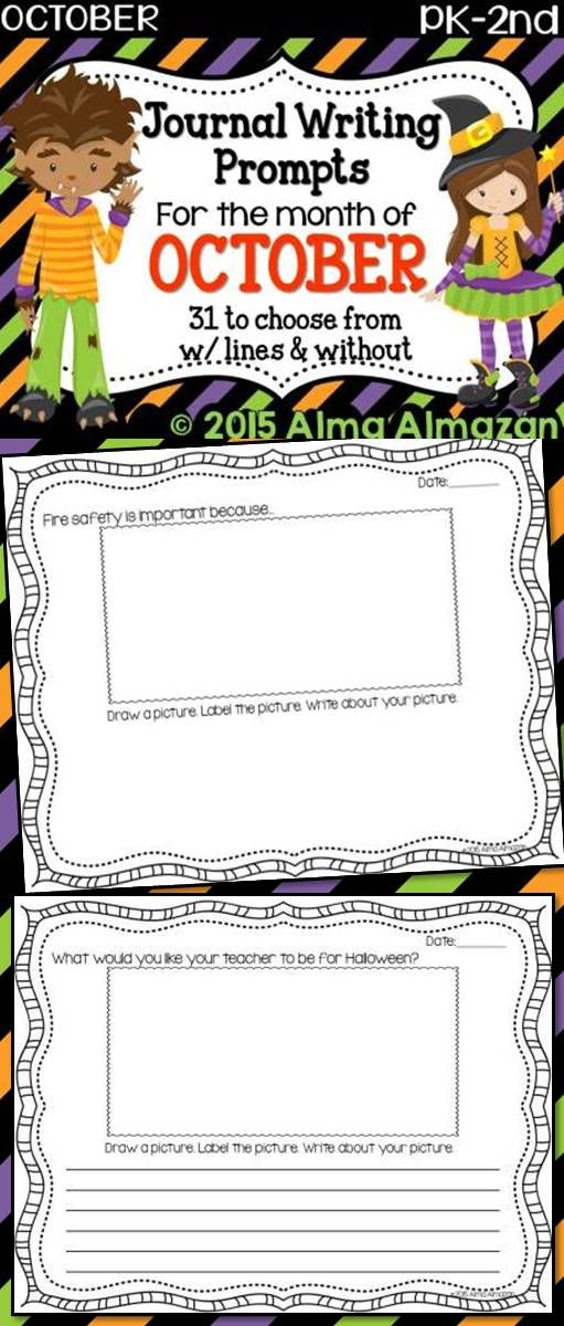Journal Writing Prompts for the Month of October PreK2nd