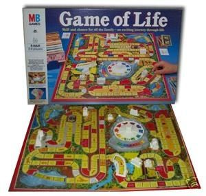 The Game of Life. Awesome then....still awesome now. played as a kid and play with my kids now.. best game ever!