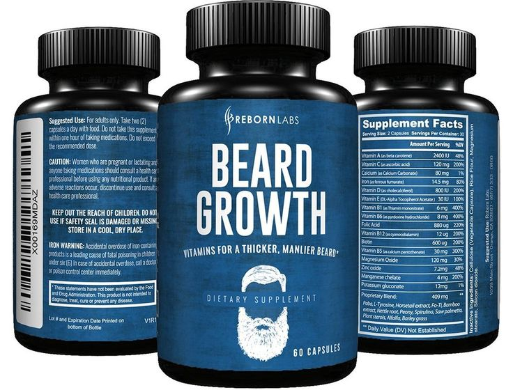 Beard Growth Supplement with Vitamins for a Fuller, Longer, & Thicker Beard #Rebornlabs $19