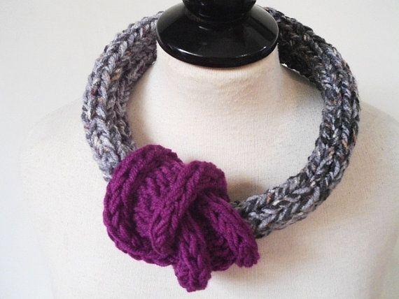 Bohemian necklace Scarf Yarn jewelry Winter trends by prettyobject