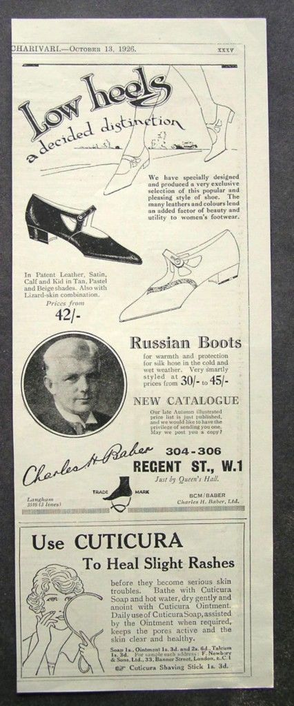 1920s advert for CHARLES BAKER ladies Russian shoes / CUTICURA advertising 1926 | eBay