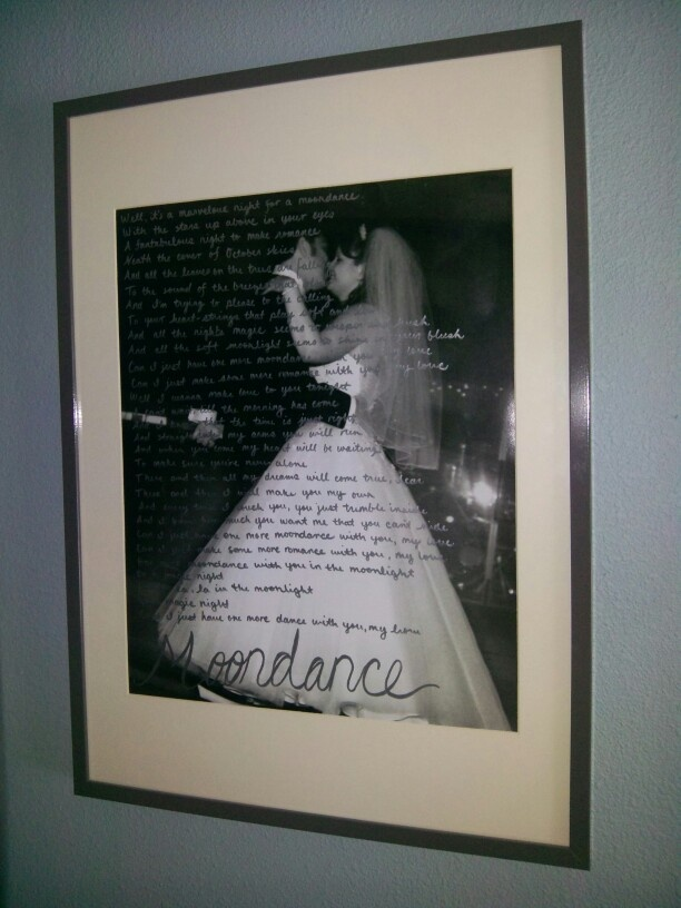DIY Wedding photo with first dance lyrics less than $35. Extra large black & white print @ walmart $11. Frame @ Ikea $19 silver craft pen $2.50