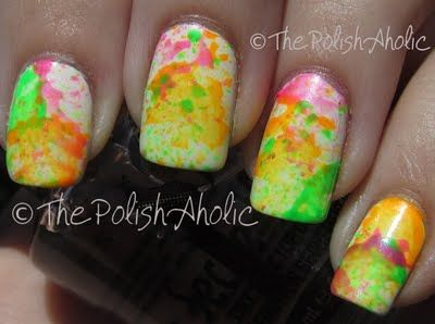 The PolishAholic: Neon Splatter Mani + Tutorial!
