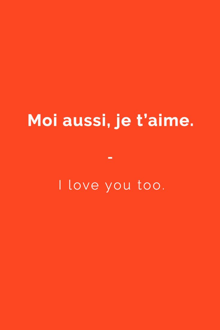 Moi aussi, je t'aime. - I love you too. | Want more French phrases? Check out this e-book for all the essentials you need to travel in France with confidence. Get it now at https://store.talkinfrench.com/product/french-phrasebook-the-essential/