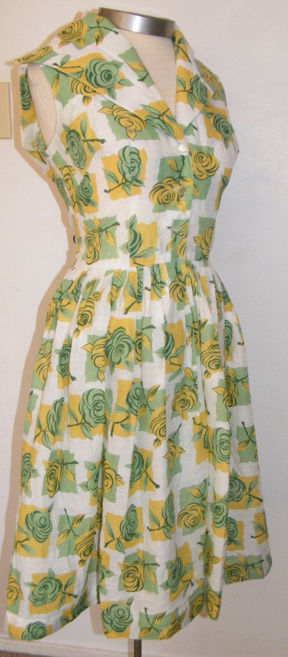 1950s Rose Print Cotton Day Dress by OrchidRoomVintage on Etsy