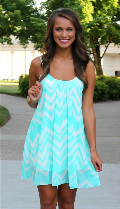 Neon Mint Chevron Dress. $37.50