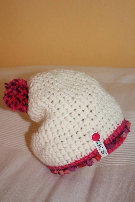 Mädchen Häkelmütze Wintermütze mit Bommel weiss pink
