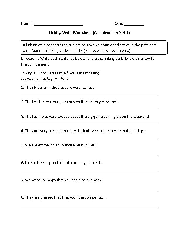 Linking Verb and Complements Worksheet