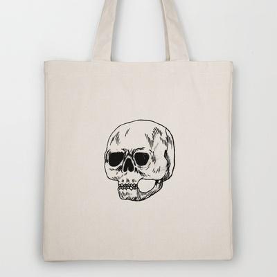 skull Tote Bag by Júlio Dolbeth - $18.00