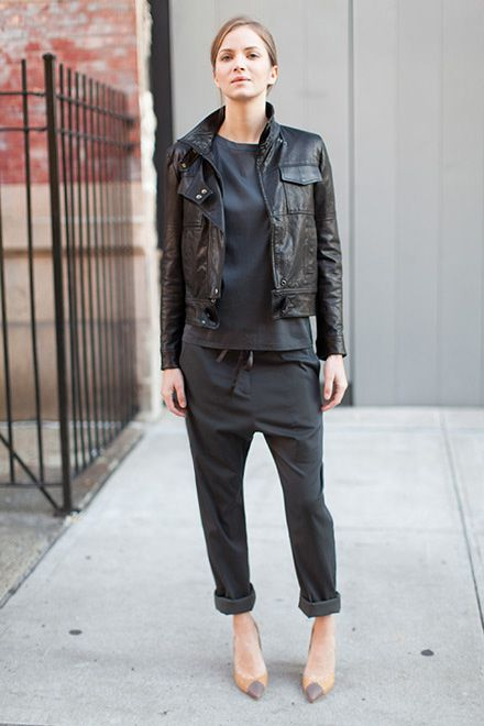 Great all-black look with nude pumps and a leather moto jacket.