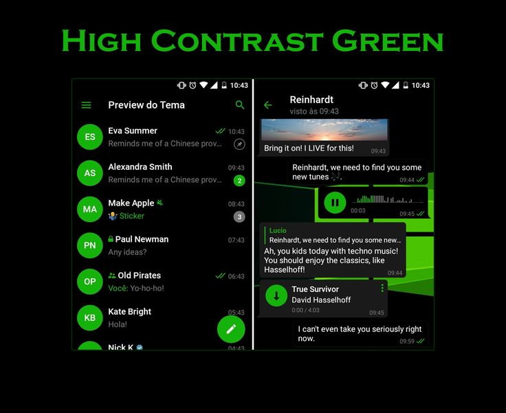 High Contrast Green Theme mobile