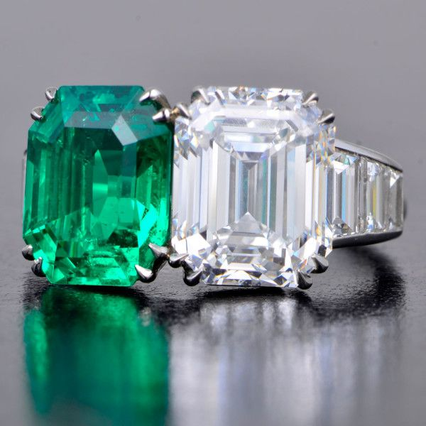 "CARTIER~""Art Deco ""Toi et moi"" (you and me) Two stone engagement ring~ Colombian emerald and Diamond."