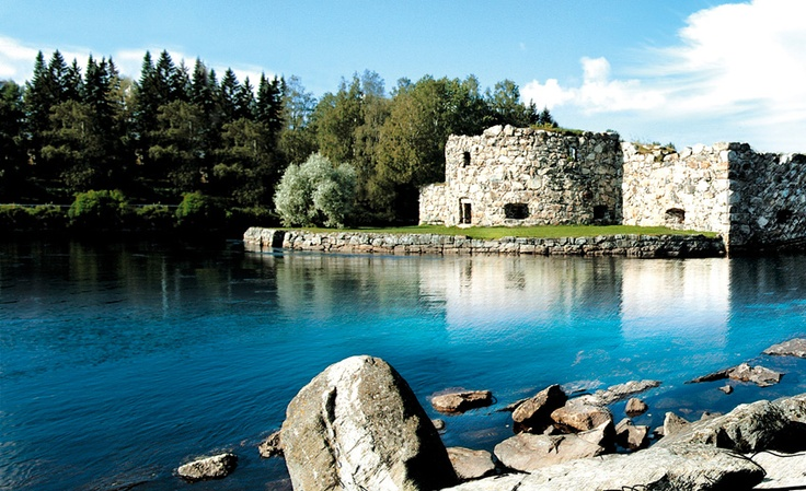 Kajaani, Finland - The Kajaani Castle ruins. This castle was built in 1604, nowadays the ruins are located in the heart of the city of Kajaani.