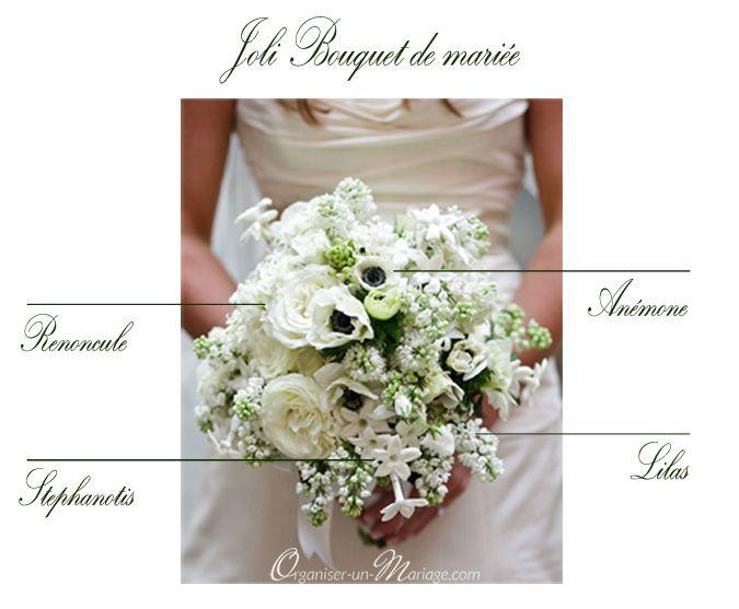 Delightful Bouquet De Mariee Blanc #9: JOLI BOUQUET DE MARIÉE BLANC { LILAS, RENONCULE, ANÉMONE, STÉPHANOTIS }