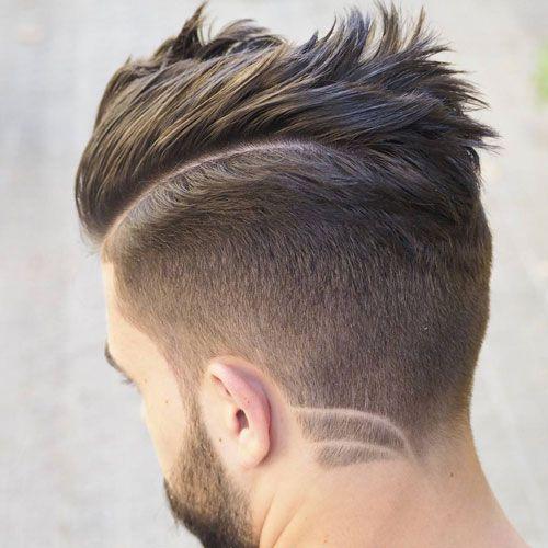 Comb Over Taper + Hair Design + Beard