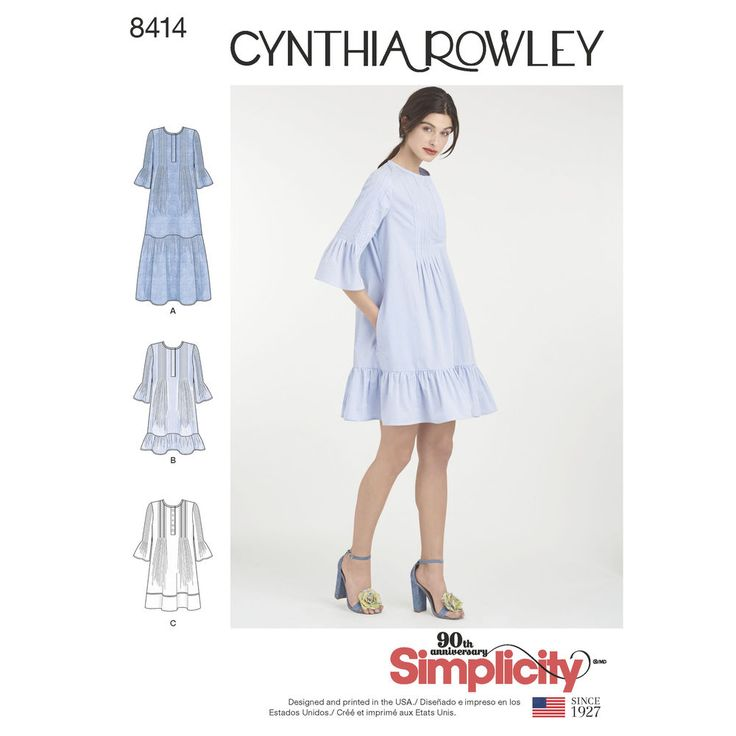 Designer Cynthia Rowley brings us this Misses' pattern for her pintuck ruffle dress, sized XS through XL with optional trim. You'll love how it can take you from late summer into early fall with ease. Simplicity sewing pattern.