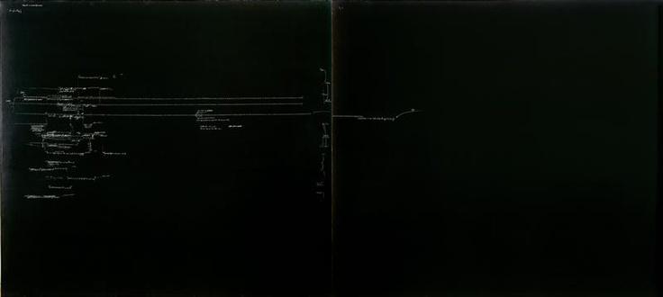Carlo Alfano, Frammenti di un autoritratto anonimo 1969-1970.  Frammenti di suoni, pause e scansioni di tempo riportati su tela come in una partitura; rappresentando in scrittura lo scorrere del tempo che l'artista vive in prima persona, i suoni e le frasi che ascolta o legge, i pensieri che sopraggiungono nella sua mente. L'opera fa parte del ciclo omonimo, nato nel 1969 e continuato ininterrottamente dall'artista fino alla sua morte,  (il punto di partenza è Stanza per voci del 1969-1974).