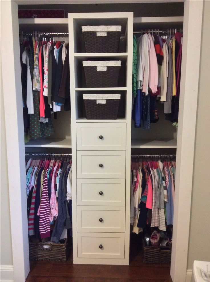 Small shared girls closet built-in, redo                                                                                                                                                     More