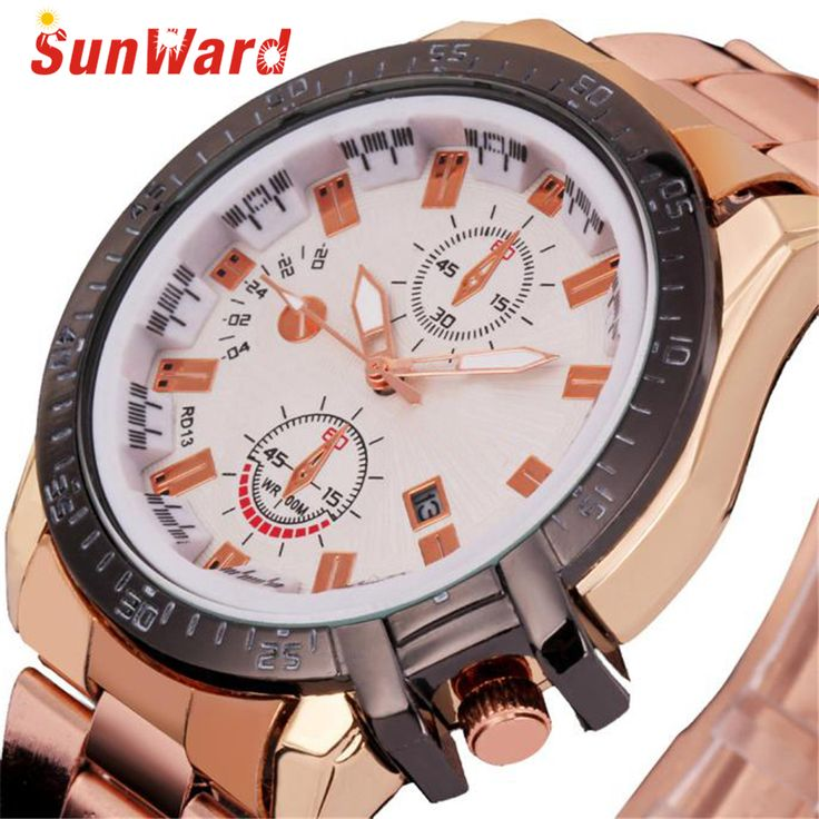 SUNWARD Relogio Masculino de luxo Dial Stainless Steel Date Watch Quartz Analog Sport Gold Clock Stylish wholesale APR8