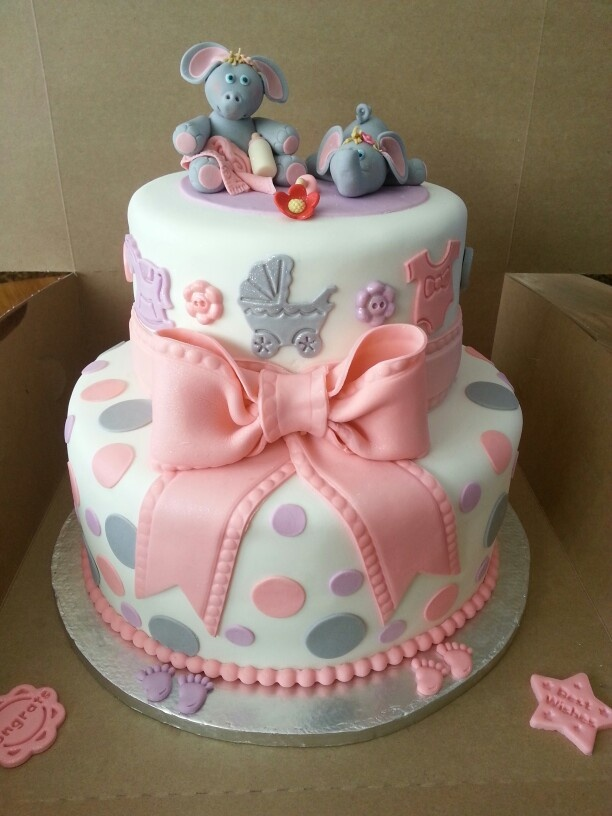 Elephant, baby shower cake for twins.