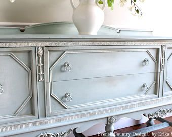 SOLD!!! - Antique Ornate Carved Jacobean Hand Painted French Country Shabby Chic Weathered White Gray Buffet Sideboard Cabinet によく似た商品を Etsy で探す