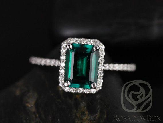 Diamond et Esmeralda 8x6mm 14kt or blanc Rectangle par RosadosBox