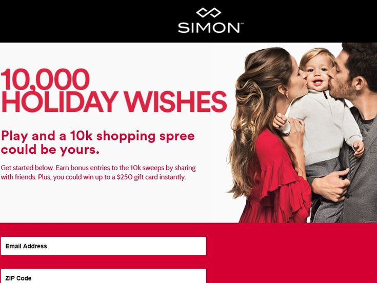 Enter the Simon 10,000 Holiday Wishes Sweepstakes for a chance to win a $10,000 Simon Gift Cards!