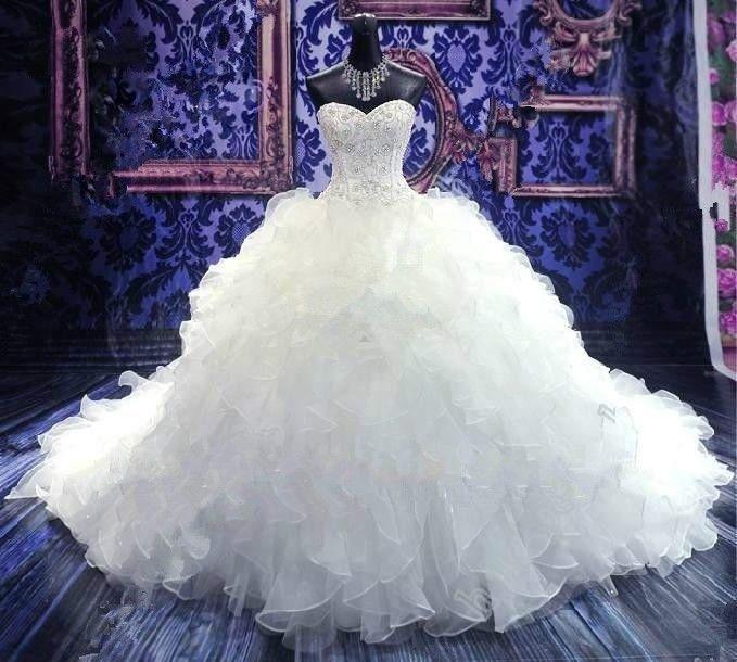 White/ivory ball gown sweetheart long train Wedding Dress custom plus size S4 in Dresses | eBay
