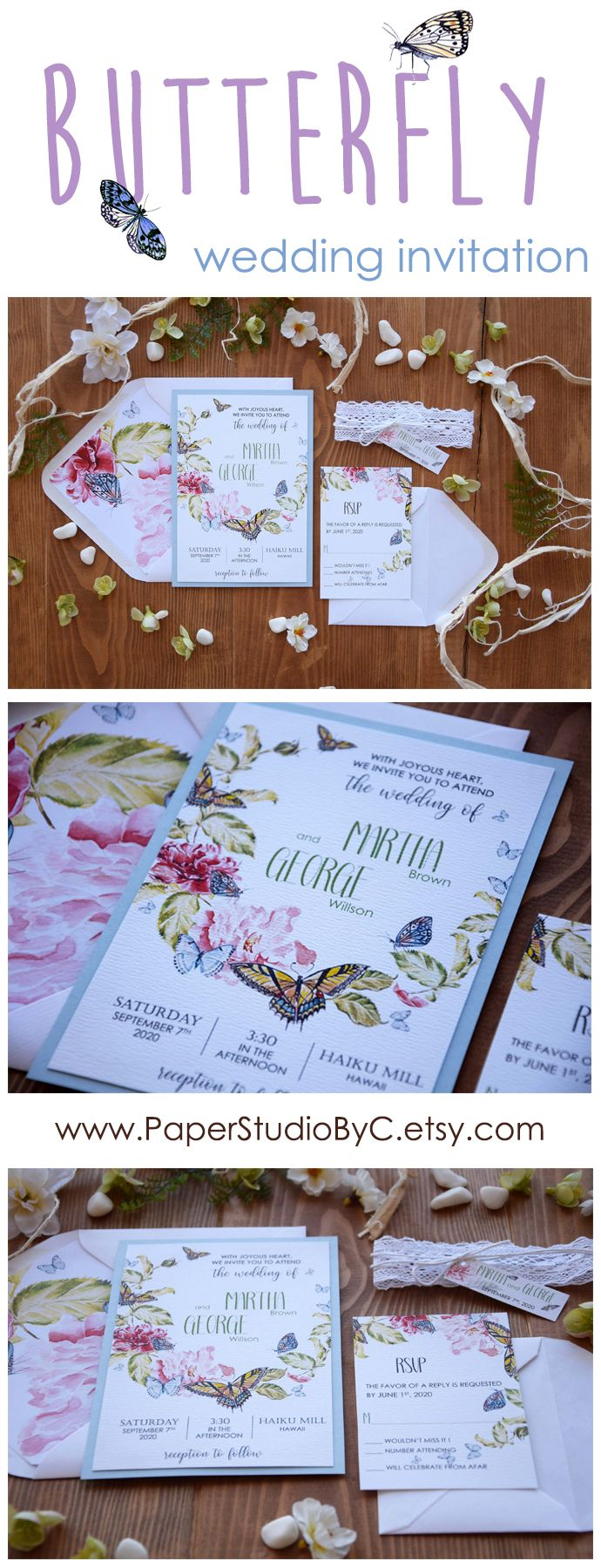 handmade wedding cards ireland%0A https   www etsy com paperstudiobyc listing             Butterfly Wedding  InvitationsWatercolor Wedding InvitationsMarriage Invitation