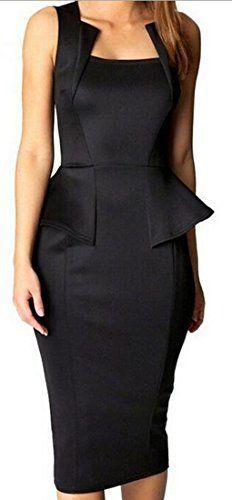 XQS Womens Bodycon Midi Mini Peplum Dress Party Square Neckline black L