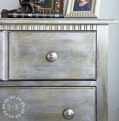 standard nightstand gets glam makeover with metallic paint, chalk paint, painted furniture