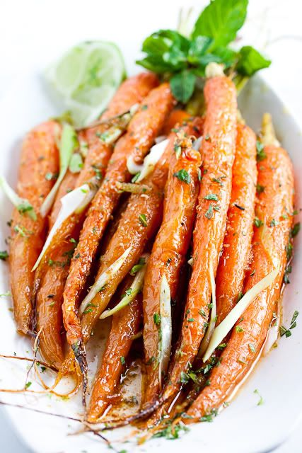 Cumin Lime Carrots /  Family Style FoodSide Dishes, Style Food, Roasted Carrots, Limes Carrots, Families Style, Cumin Lim Carrots, Roasted Cumin Lim, Green Onions, Cumin Limes