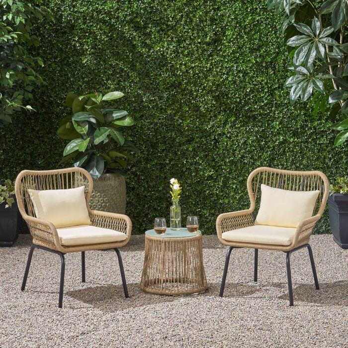 Mcclurg Patio 3 Piece Seating Group With Cushions Allmodern Seating Groups Outdoor Sofa Sets Patio Chairs
