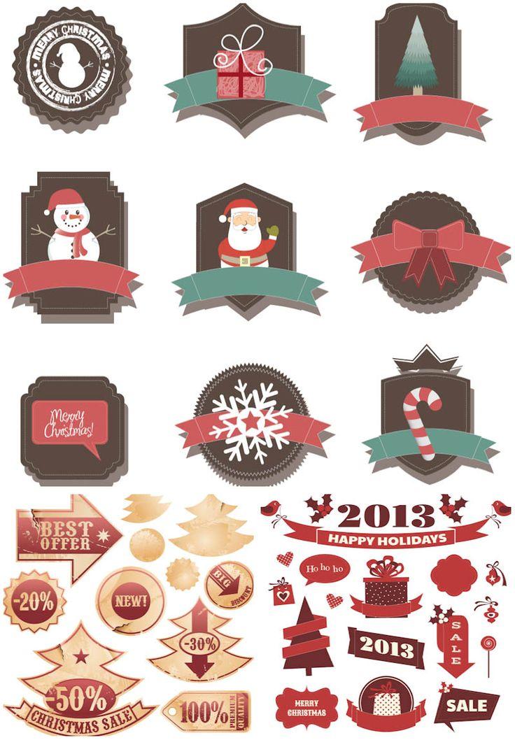 #Retro #Christmas #badges #vector