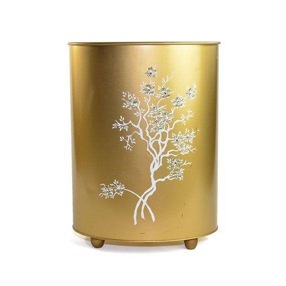 Vintage Gold Metal Trash Can: Elegant shabby cottage chic or Victorian home decor styling - perfect for bedroom or bathroom. Available from OneRustyNail on Etsy. ► http://www.etsy.com/shop/OneRustyNail
