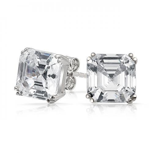 Bling Jewelry Mens CZ Square Asscher Cut Stud Earrings 925 Sterling Silver 5mm