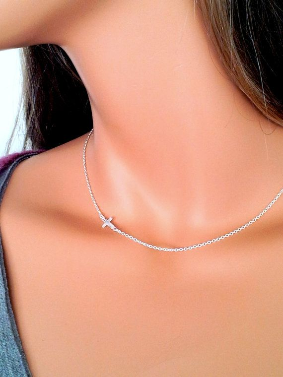 Sideways Cross Necklace Sterling Silver Sideways Cross Necklace by divinitycollection, $25.00