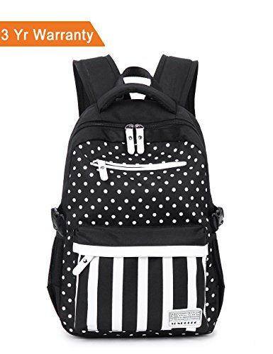 SUNPOLLO Girls Backpack School Bag Casual Backpack Cute Daypack Polka Dot Fashion Book Bag for Girls Women Canvas Rucksack Kids Primary Middle School BackpackBlack * Want additional info? Click on the image.